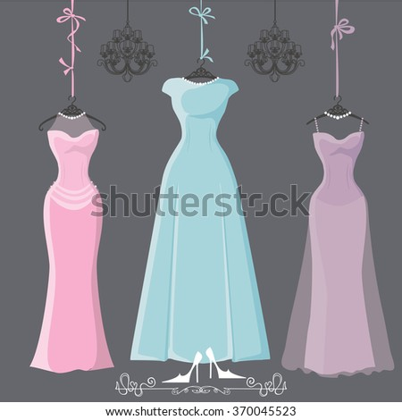 Wedding bridesmaid dresses with long skirt.Dresses hang on ribbons.Fashion Composition with chandeliers,text,high heel shoes on grey background. Fashion dresses,holiday Illustration - stock photo