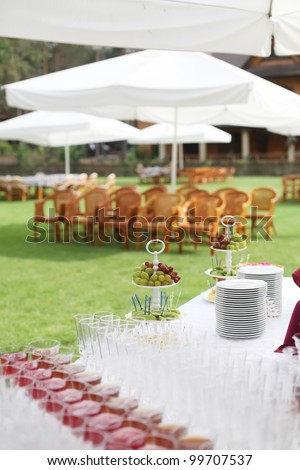 wedding buffet with fruit on the table - stock photo