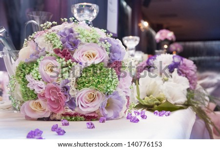 Wedding bunch of flowers.Fragile  color blossoms and petals - stock photo