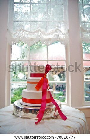 Wedding cake at a wedding reception - stock photo