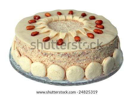 Wedding cake isolated on white - stock photo