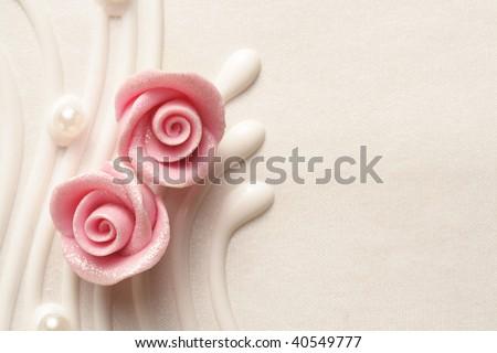 wedding cake roses - stock photo