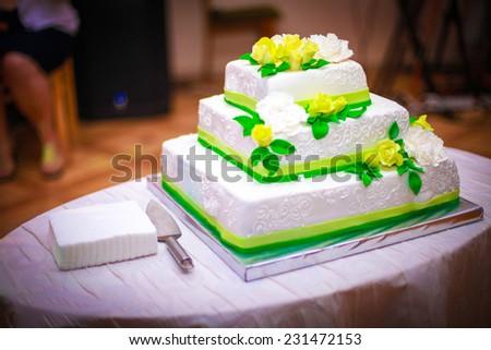 Wedding cake. Sweet cake.  - stock photo