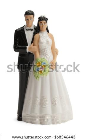 Wedding Cake Topper Isolated on White Background. - stock photo
