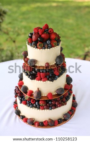 Wedding Cake with Berries - stock photo