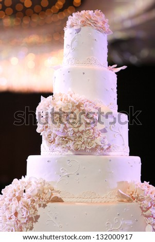 Wedding cake with luxury decorated in wedding party - stock photo