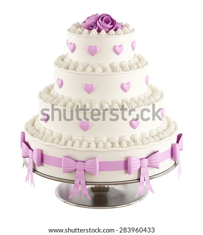 Wedding cake with pink roses,hearts and bow isolated on white - 3D Rendering - stock photo
