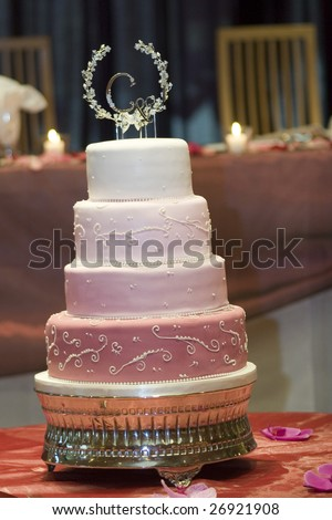 wedding cake with topper - stock photo