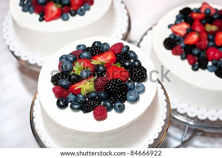 wedding cakes with forest fruits - stock photo
