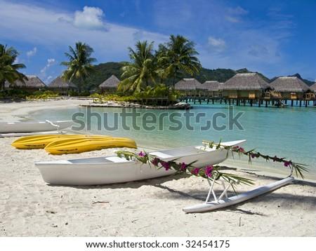 Wedding canoe in Polynesia - stock photo