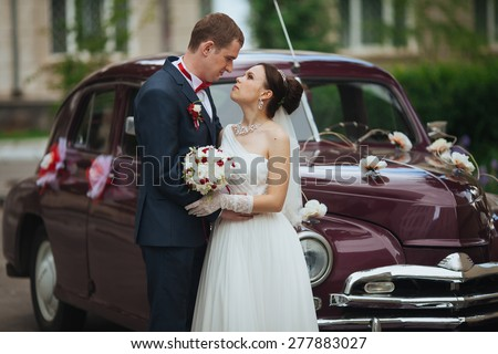 wedding car and tenderness weddig love - stock photo