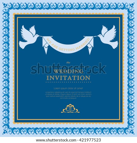 Wedding card or invitation with floral ornament background. Vintage greeting card. Perfect as invitation or announcement.  - stock photo
