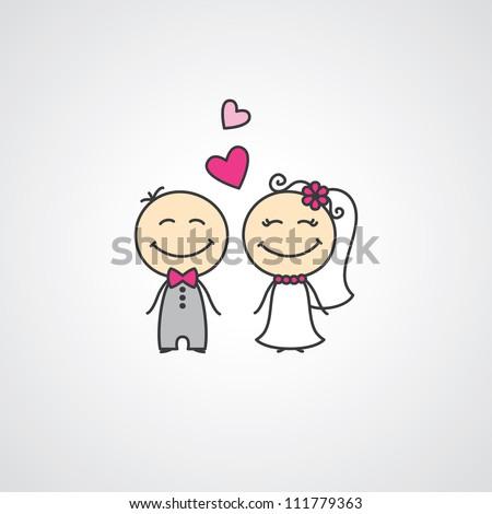 wedding card with cartoon groom and bride - stock photo