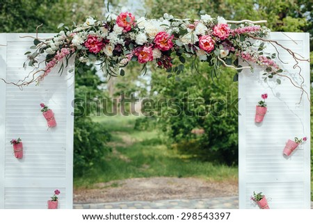 wedding ceremony in outside, rusti? style - stock photo