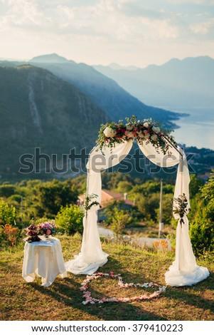 Wedding ceremony in the mountains Montenegro - stock photo