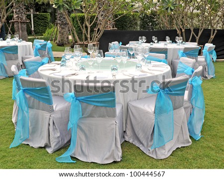 Wedding chair reception place ready for guests - stock photo