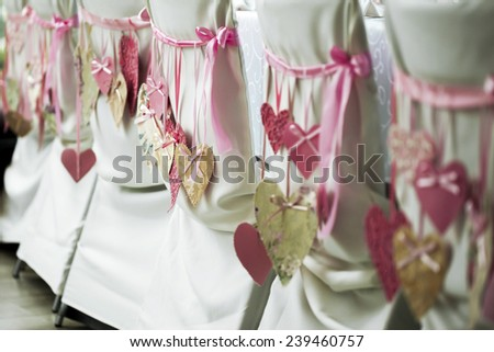 wedding chairs with decoration - stock photo