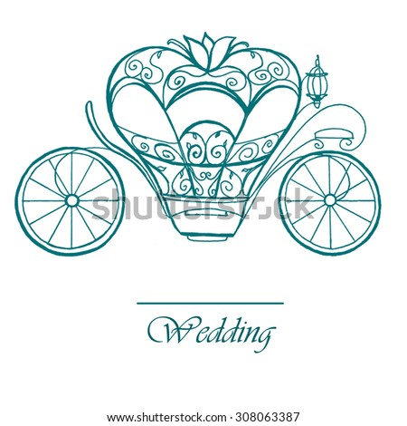 Wedding coach, outline drawing - stock photo