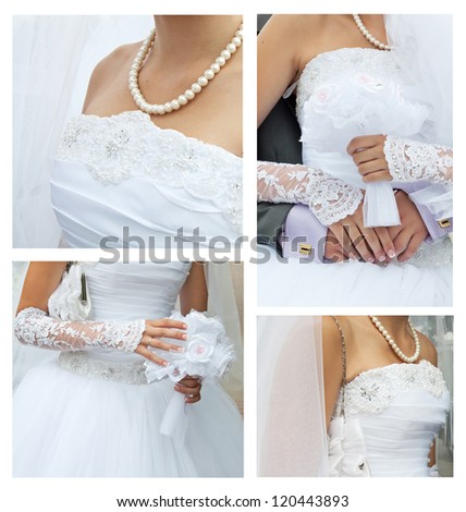 wedding collage: clothing, accessories, bridal bouquet, beautiful pearls - stock photo
