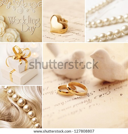 wedding collage decoration with wedding rings - stock photo