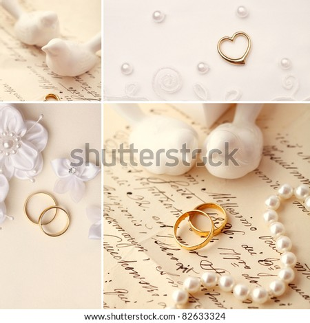 wedding collage - decoration with wedding rings - stock photo
