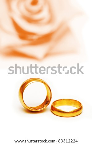 Wedding concept with roses and rings - stock photo