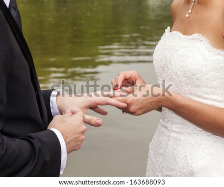 wedding couple are swearing lifetime loyality in the park in the wedding ceremony - stock photo