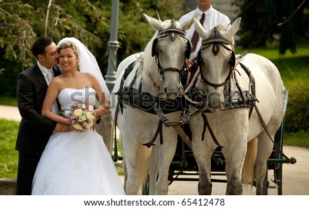 wedding couple, carriage - stock photo