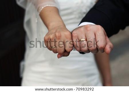 Wedding couple hands - stock photo