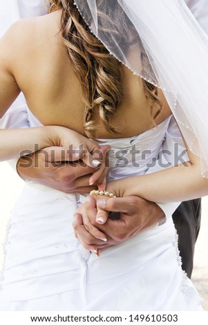 Wedding couple holding hands and hugging. - stock photo