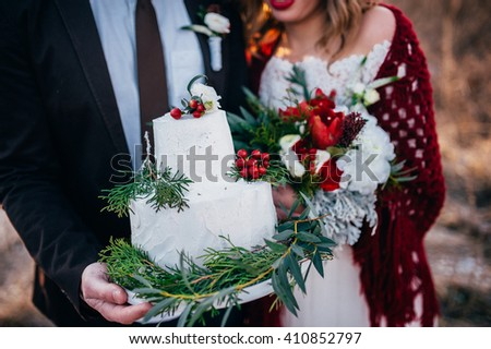Wedding couple in love outdoors - stock photo