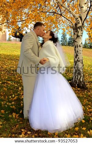 Wedding couple in yellow autumn park - stock photo
