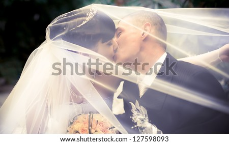 Wedding couple kissing covered veil - stock photo