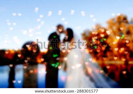 wedding couple kissing in the park ,blurred wedding and love background,heart bokeh  - stock photo