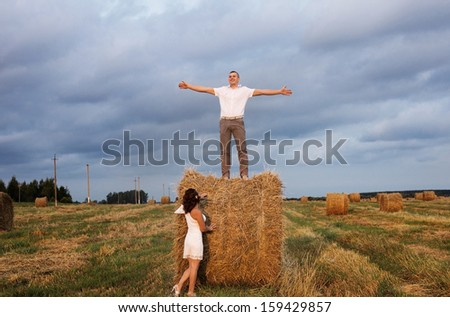 Wedding couple outdoor - stock photo