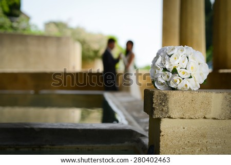 wedding day of a cheerful married young couple bride and groom - stock photo