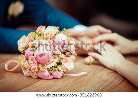 Wedding day romance - stock photo