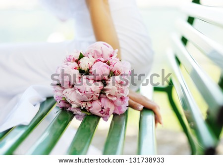 Wedding decor. Beautiful bouquet of pink peonies - stock photo