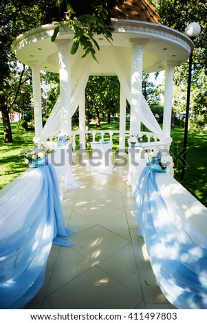 Wedding decor blue white summer - stock photo