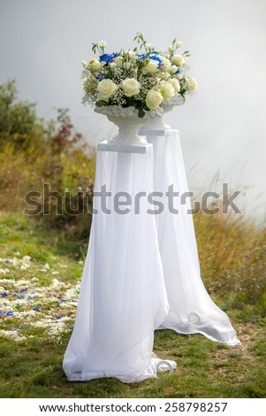 Wedding decoration elements on a fog background - stock photo