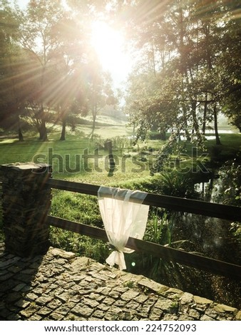 Wedding decoration in the countryside with sunrise  - stock photo