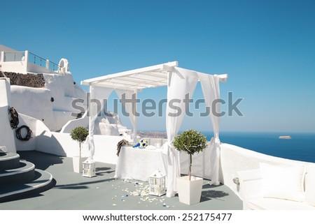 Wedding decoration on Santorini Island,Greece,Fira. - stock photo