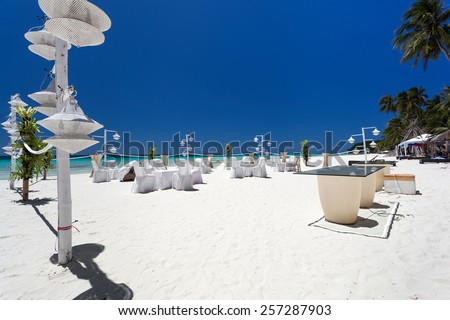 Wedding decoration on tropical beach