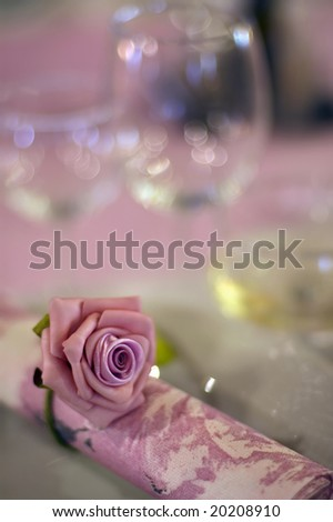 Wedding decoration with a beautiful rose - stock photo