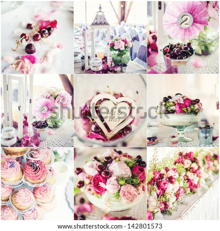 Wedding decorations collage, collage of nine wedding photos - stock photo