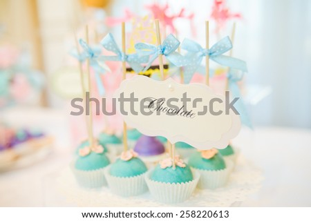 wedding dessert with delicious Cake pops - stock photo