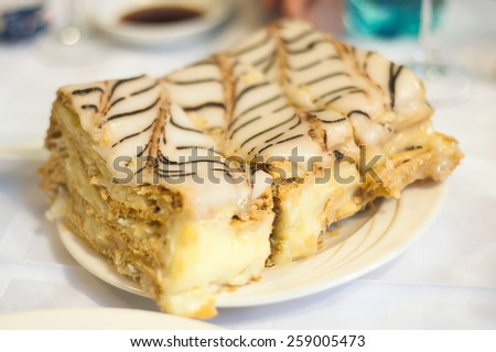 wedding dessert with delicious sweet cake - stock photo