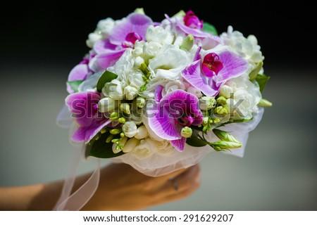 Wedding details. Big Bouquet - stock photo
