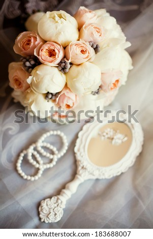 wedding details with wedding bouquet - stock photo
