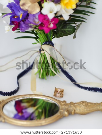 Wedding details with wedding bouquet. Bridal morning - stock photo